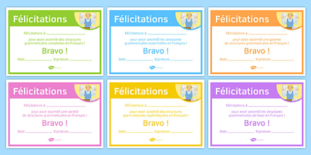 French End of Year Grammar Award Certificate-French