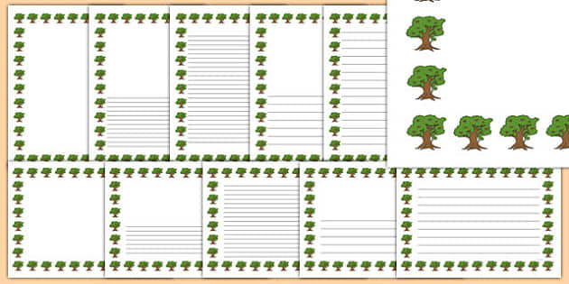 Oak Tree Themed Page Borders - oak tree, themed, page borders, page, borders