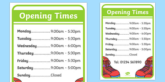 Shoe Shop Role Play Opening Times - Shoe shop, shoes, role play, shop, trainers, display, poster, shoe box, labels, measuring chart, word cards