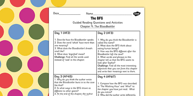 Guided Reading Questions Chapter 9 to Support Teaching on The BFG - reading aid, roald dahl
