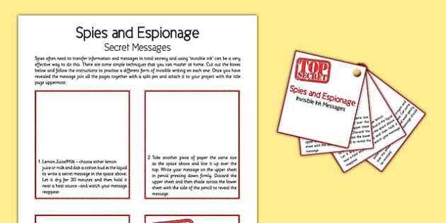 Spies and Espionage Secret Messages - spies, espionage, secret messages, home education