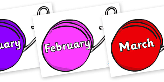 Months of the Year on Yo Yos - Months of the Year, Months poster, Months display, display, poster, frieze, Months, month, January, February, March, April, May, June, July, August, September