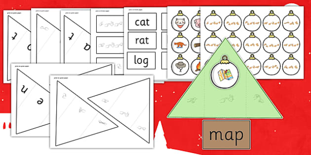 Christmas Tree CVC Words Activity with British Sign Language