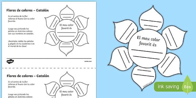 Ficha de actividad Flores de colores - catalán