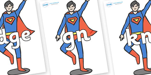 Silent Letters on Superheroes (Plain) - Silent Letters, silent letter, letter blend, consonant, consonants, digraph, trigraph, A-Z letters, literacy, alphabet, letters, alternative sounds