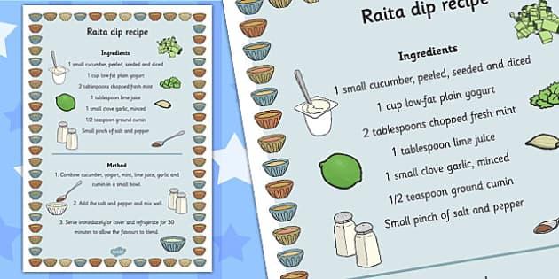 Raita Recipe - raita, recipe, sheet, cooking, dip, dippers, food
