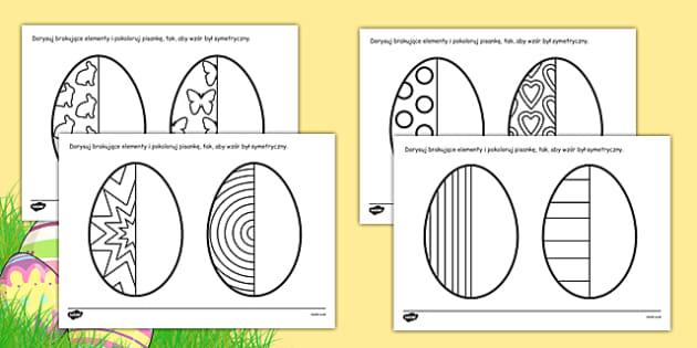 Arkusz Symetryczne pisanki po polsku - Wielkanoc, symetria