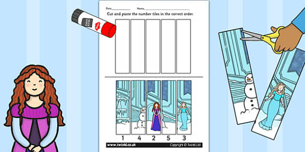 Winter Fairytale Number Sequencing Puzzle - frozen, number, game