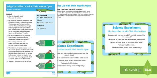 EYFS Why Crocodiles Lie with Their Mouth Open Science Experiment and Prompt Card Pack to Support Teaching on The Enormous Crocodile