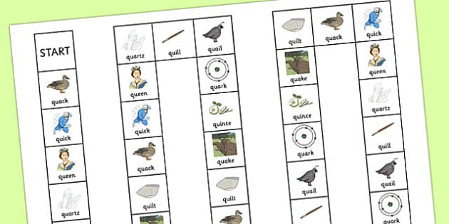 QU Board Game - speech sounds, phonology, articulation, speech therapy, cluster reduction