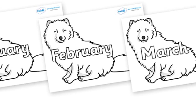 Months of the Year on Arctic Foxes - Months of the Year, Months poster, Months display, display, poster, frieze, Months, month, January, February, March, April, May, June, July, August, September