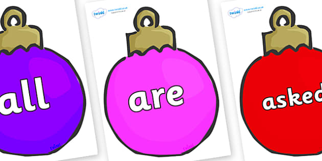 Tricky Words on Plain Baubles (Multicolour) - Tricky words, DfES Letters and Sounds, Letters and sounds, display, words