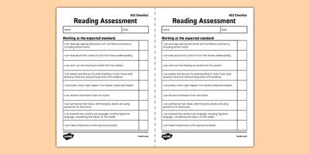 KS2 Reading Exemplification - I Can Statements  Checklist