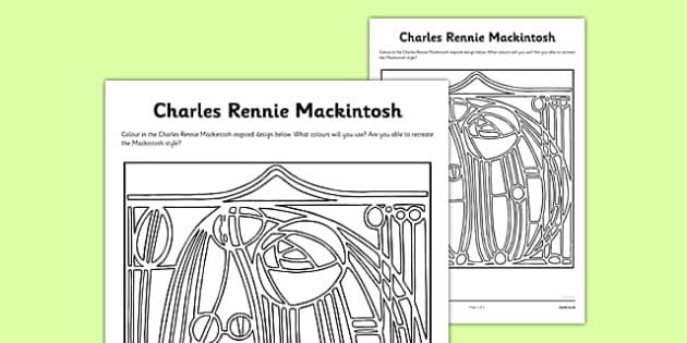 Charles Rennie Mackintosh Colouring Sheet - cfe, charles rennie mackintosh, colouring, sheet