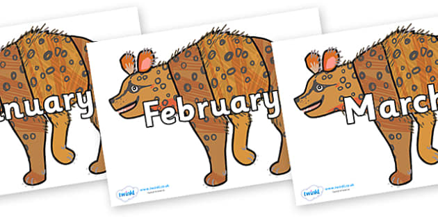 Months of the Year on Hyena to Support Teaching on The Bad Tempered Ladybird - Months of the Year, Months poster, Months display, display, poster, frieze, Months, month, January, February, March, April, May, June, July, August, September