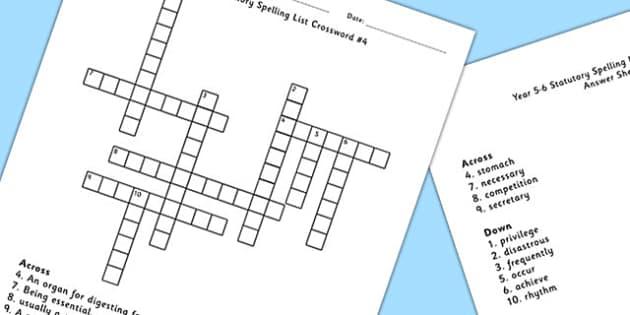 Year 5-6 Statutory Spelling List Crossword 4 - crossword, spell