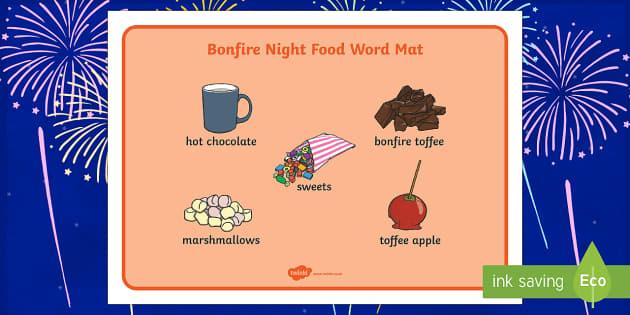 Bonfire Night Food Word Mat