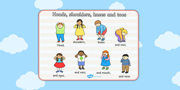 Head Shoulders Knees and Toes Poster - poster, song, head, knees