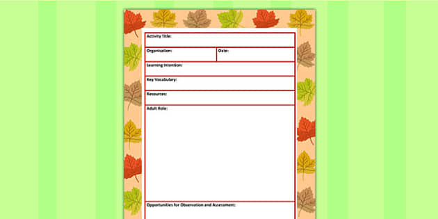 Autumn Themed Adult Led Carpet Based Activity Planning Template