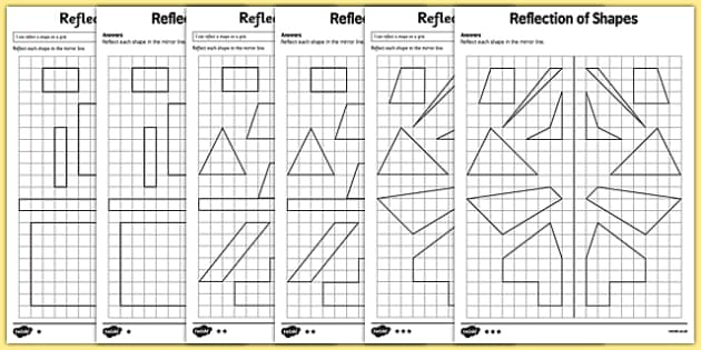 Reflection of Shapes Activity Sheet Pack - KS2, Key Stage 2, Year 5, reflect, reflection, worksheet, congruent, congruence