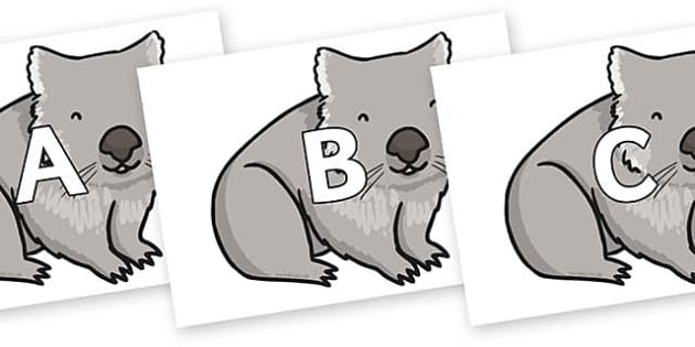 A-Z Alphabet on Wombat - A-Z, A4, display, Alphabet frieze, Display letters, Letter posters, A-Z letters, Alphabet flashcards