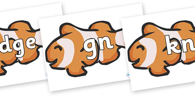 Silent Letters on Clown Fish - Silent Letters, silent letter, letter blend, consonant, consonants, digraph, trigraph, A-Z letters, literacy, alphabet, letters, alternative sounds
