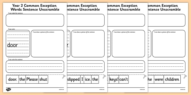Year 2 Common Exception Words Sentence Unscramble - year 2, common exception words, sentence, unscramble