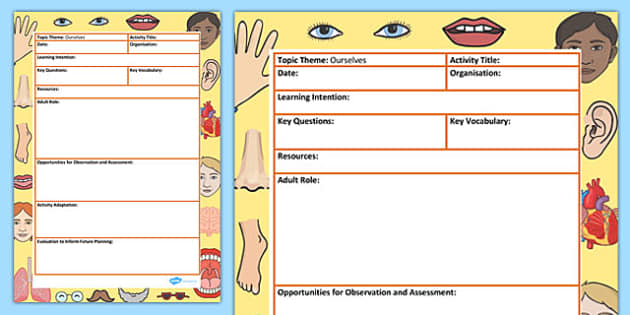 Ourselves Themed Adult Led Focus Planning Template - ourselves