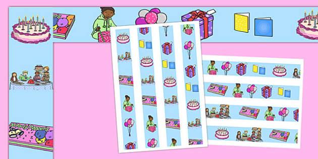 Birthday Display Borders - Display border, classroom border, border, birthday, birthday party, party hat, party invitation, invitations, party food, cake, balloons, happy birthday, birthday role play