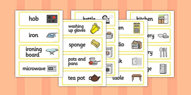Kitchen Word Cards, house, kitchen, Word cards, flashcards,rooms