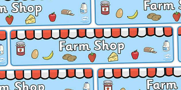 Farm Shop Display Banner (Farm Foods) - Farm display, banner, poster, shop, farm, pig, cow, chicken, goat, tractor, farmer, chicken, goat, sheep, hay, milk, eggs