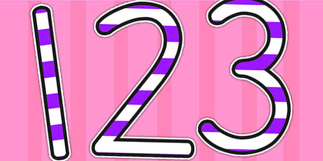 Stripey Purple Display Numbers - numbers, display numbers, number