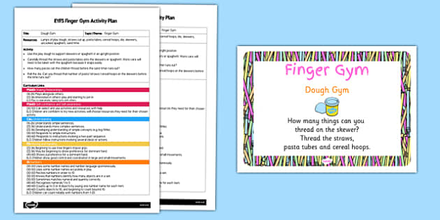 EYFS Dough Gym Finger Gym Activity Plan and Prompt Card Pack