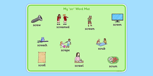 SCR Word Mat - speech sounds, phonology, articulation, speech therapy, cluster reduction, complex clusters, three element clusters