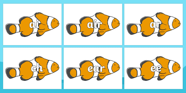 Phase 3 Phonemes on Clown Fish - Phonemes, phoneme, Phase 3, Phase three, Foundation, Literacy, Letters and Sounds, DfES, display