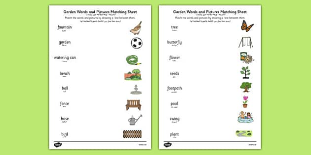 Garden Words and Picture Matching Activity Sheet Arabic Translation - arabic, , worksheet