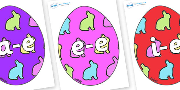 Modifying E Letters on Easter Eggs (Rabbit) - Modifying E, letters, modify, Phase 5, Phase five, alternative spellings for phonemes, DfES letters and Sounds