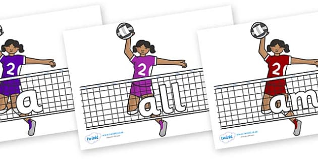 Foundation Stage 2 Keywords on Volleyball - FS2, CLL, keywords, Communication language and literacy,  Display, Key words, high frequency words, foundation stage literacy, DfES Letters and Sounds, Letters and Sounds, spelling
