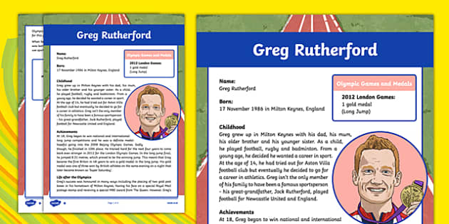 Great British Olympians Greg Rutherford Differentiated Fact File - non-fiction, Greg Rutherford, long jump, Super Saturday, olympics, olympians, fact files, rio, 2016