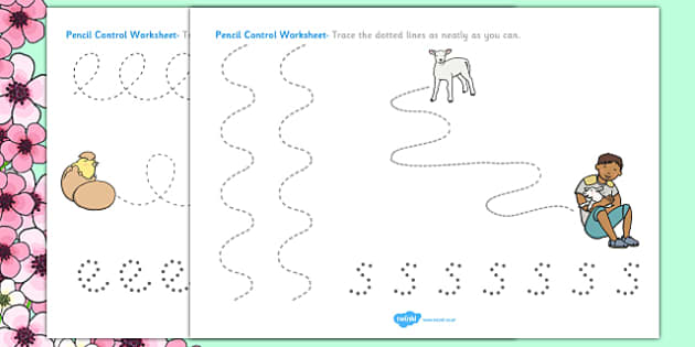 Spring Pencil Control Worksheets - spring, control, worksheets