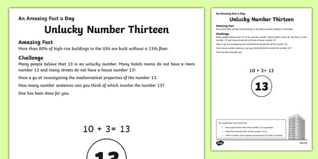 Unlucky Number Thirteen Activity Sheet, worksheet