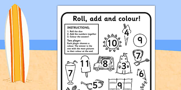 Summer Themed Roll and Colour Worksheets - seasons, weather