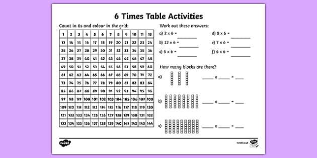 6 Times Table Activity Sheet six times table maths – 6 Times Table Worksheet