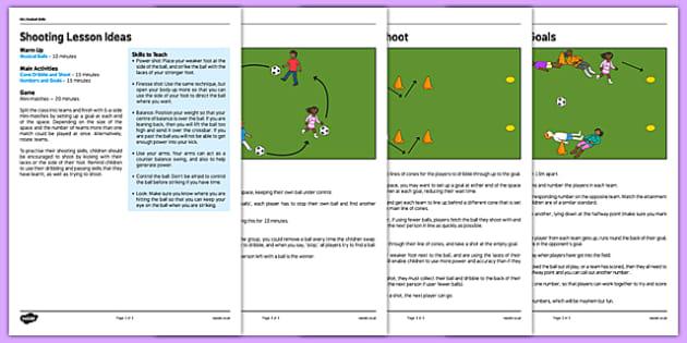 KS1 Football Skills 3 Shooting Lesson Pack - football, PE, sport, exercise, KS1, year 1, year 2, skills, physical education, ball skills, team sports