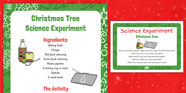 EYFS Christmas Tree Science Experiment and Prompt Card Pack - eyfs, christmas tree, science experiment, pack
