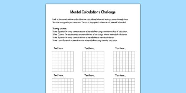 Mental Calculations Challenge Editable Template - mental calculations, challenge, editable, template