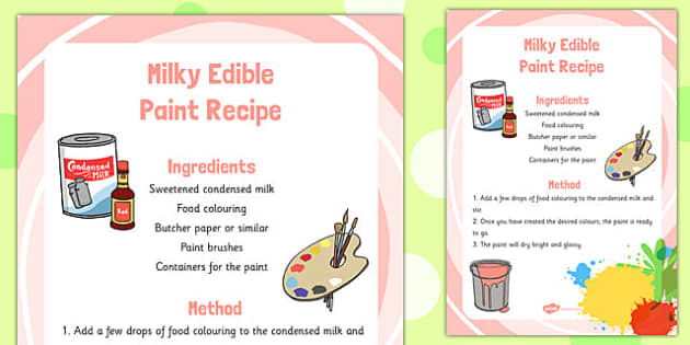 Milky Edible Paint Recipe -art, design, technology, food, early years, KS1