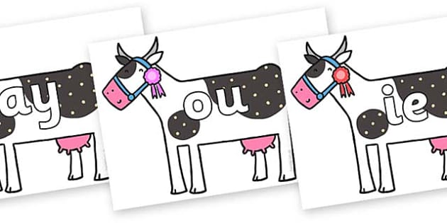 Phase 5 Phonemes on Cow to Support Teaching on What the Ladybird Heard - Phonemes, phoneme, Phase 5, Phase five, Foundation, Literacy, Letters and Sounds, DfES, display