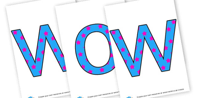 Wow Wall lettering - display lettering - Wow Words & Adjectives Primary Resources, cll, wow, keywords