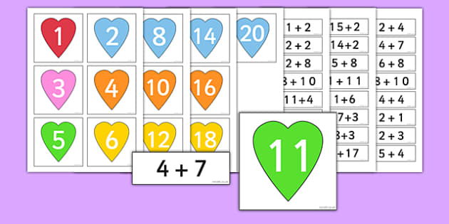 Calculations to 20 Matching Activity Hearts - calculations, match